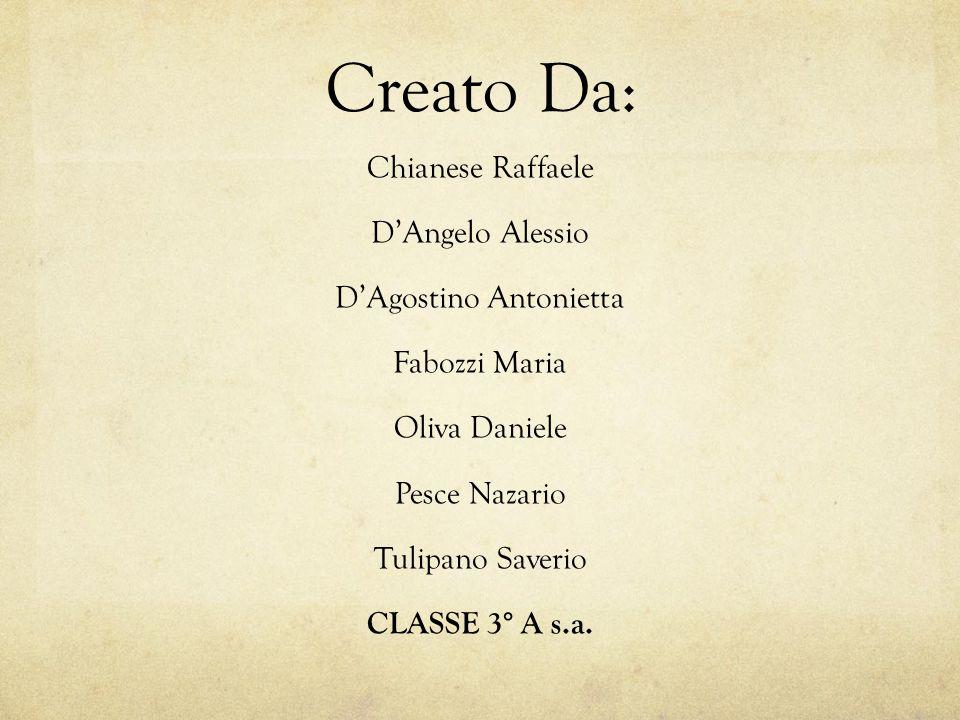 Creato Da: Chianese Raffaele D'Angelo Alessio D'Agostino Antonietta Fabozzi Maria Oliva Daniele Pesce Nazario Tulipano Saverio CLASSE 3° A s.a.