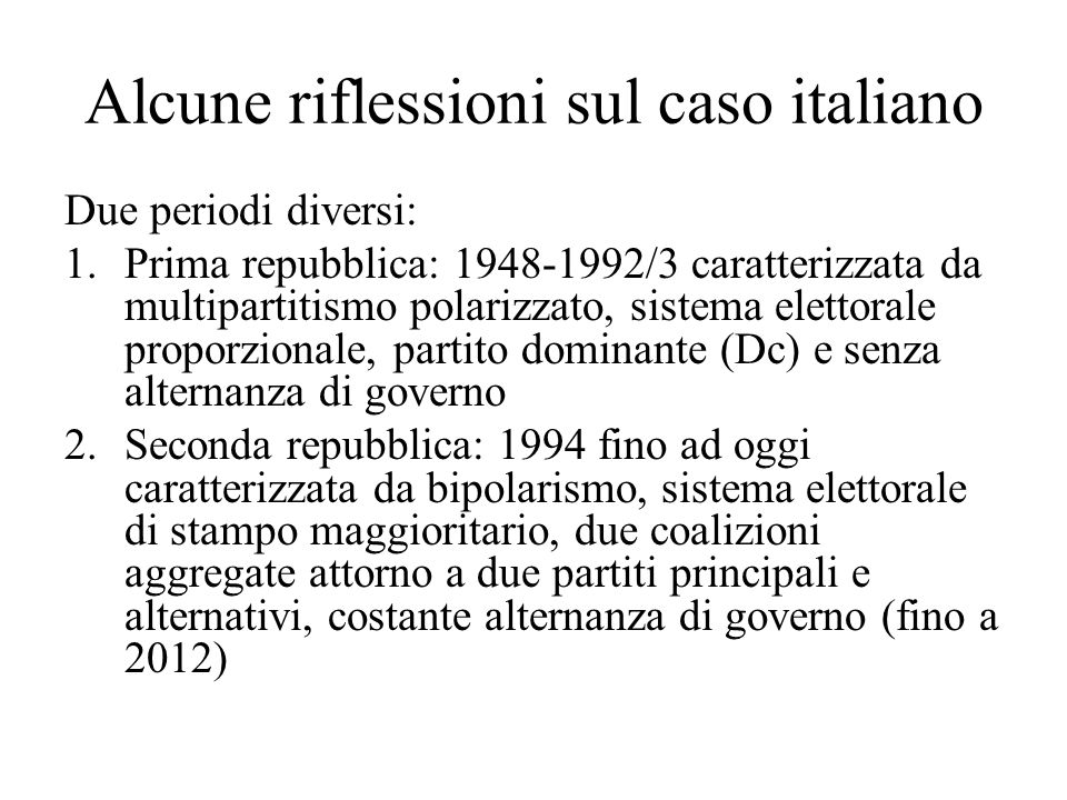 Alcune riflessioni sul caso italiano