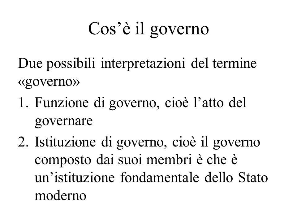 Cos'è il governo Due possibili interpretazioni del termine «governo»