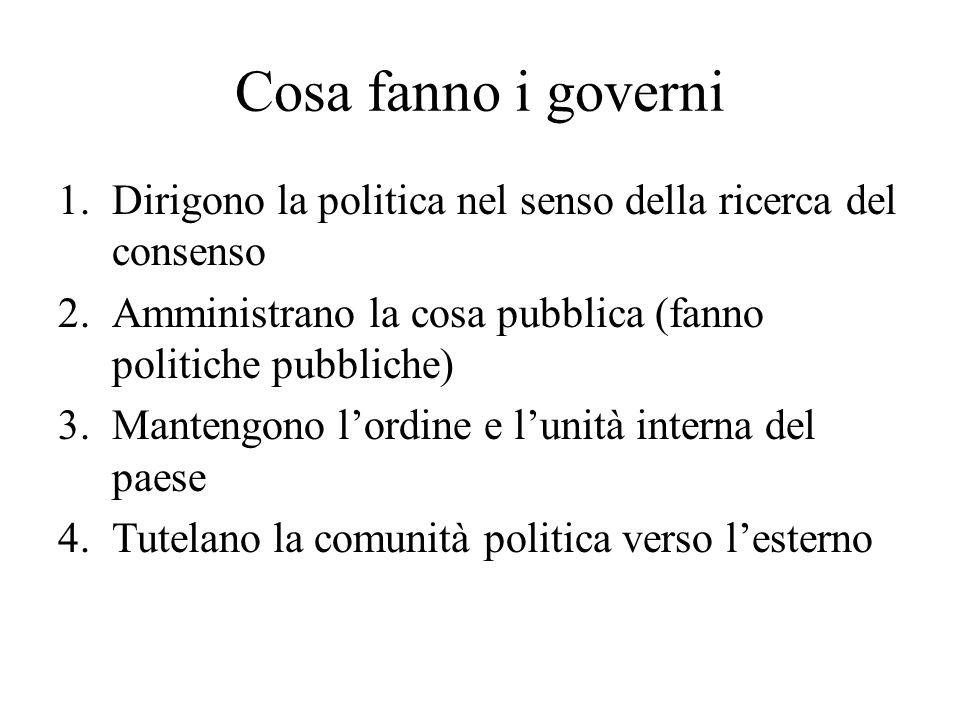 Cosa fanno i governi Dirigono la politica nel senso della ricerca del consenso. Amministrano la cosa pubblica (fanno politiche pubbliche)
