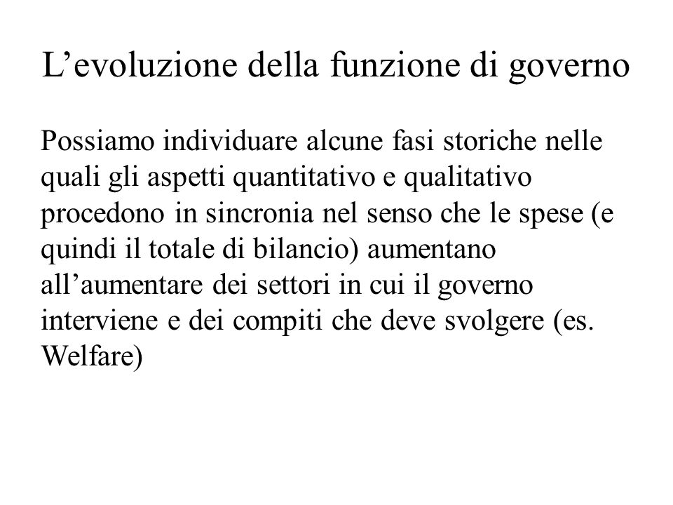 L'evoluzione della funzione di governo
