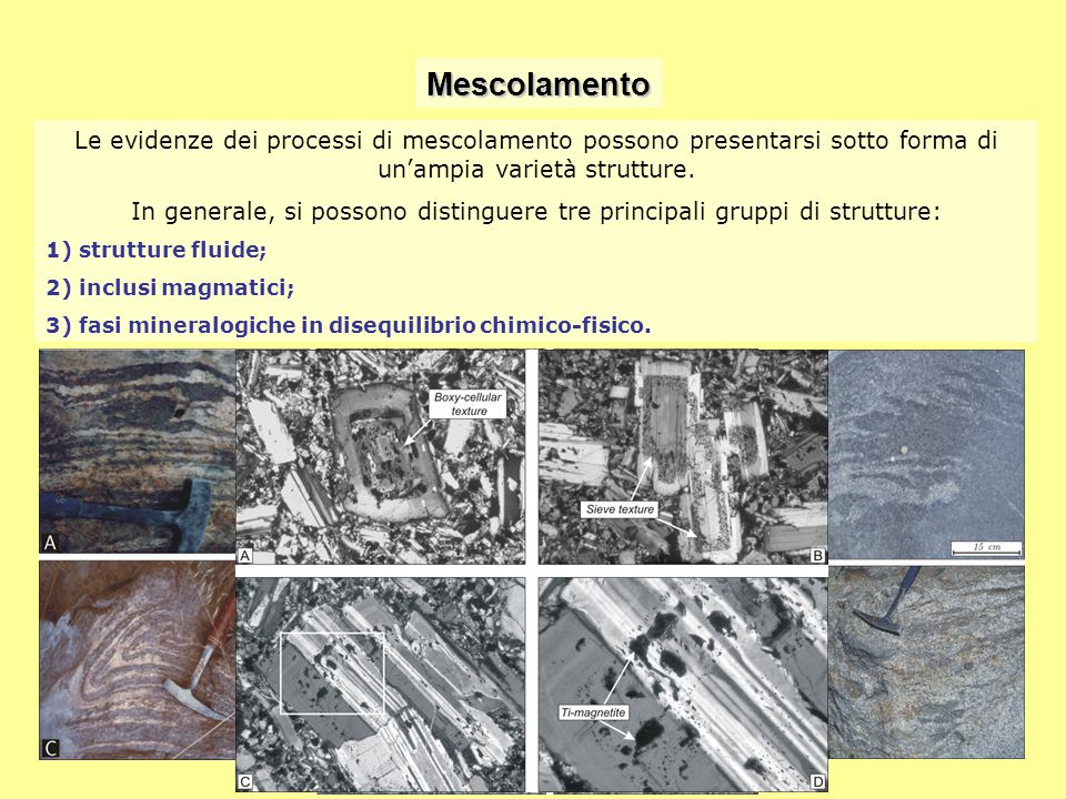 Mescolamento Le evidenze dei processi di mescolamento possono presentarsi sotto forma di un'ampia varietà strutture.