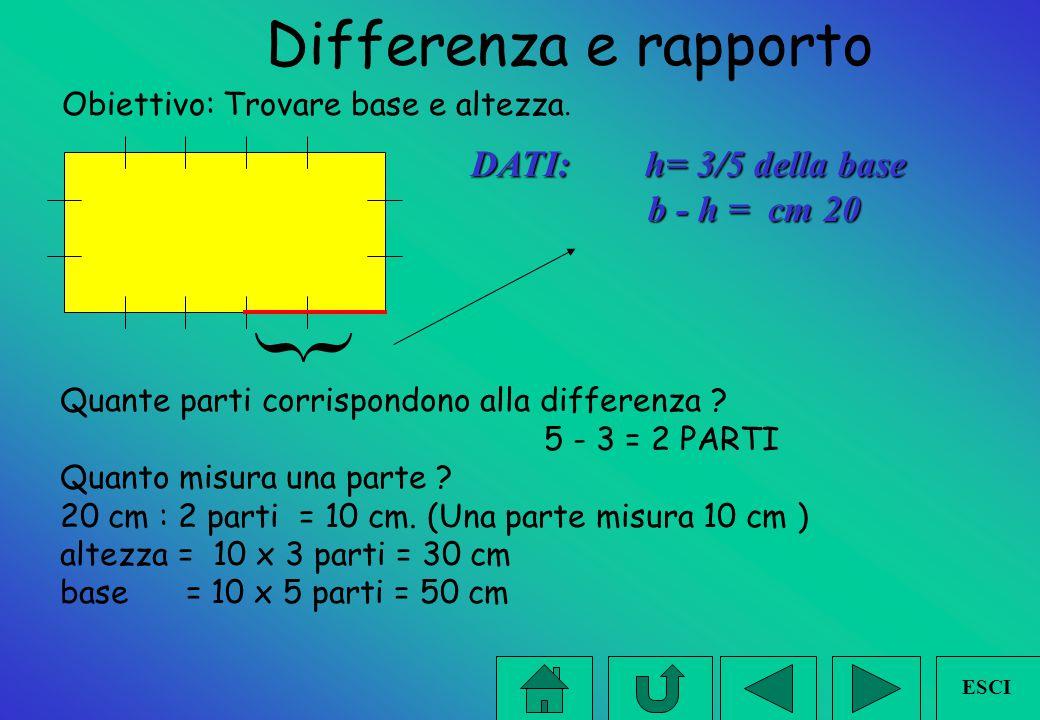  Differenza e rapporto DATI: h= 3/5 della base b - h = cm 20