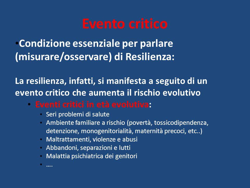 Evento critico Condizione essenziale per parlare (misurare/osservare) di Resilienza: