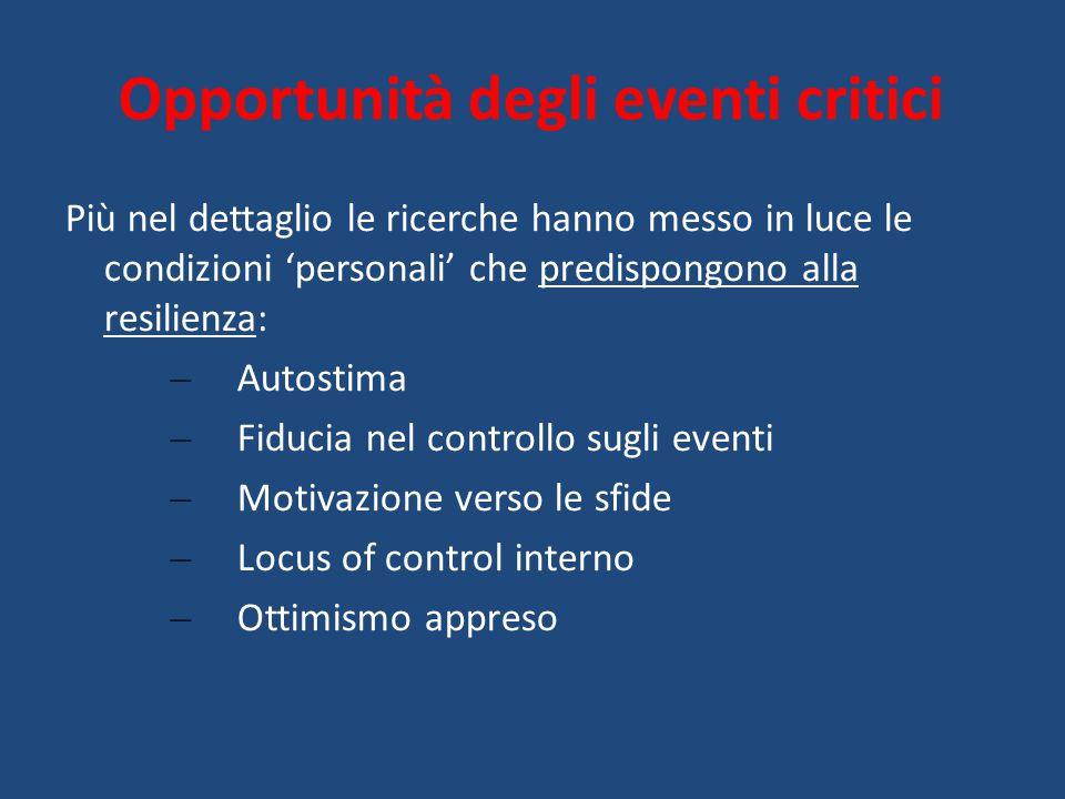 Opportunità degli eventi critici