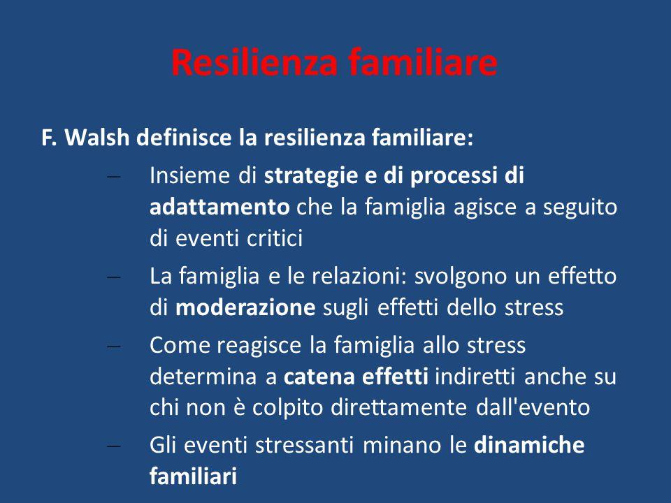 Resilienza familiare F. Walsh definisce la resilienza familiare: