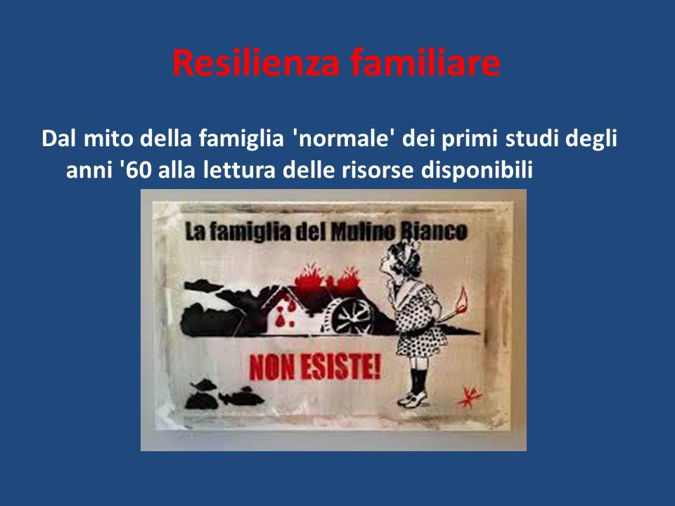 Resilienza familiare Dal mito della famiglia normale dei primi studi degli anni 60 alla lettura delle risorse disponibili.