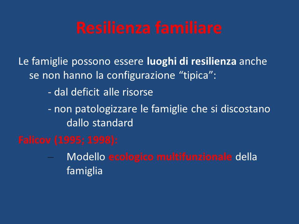 Resilienza familiare Le famiglie possono essere luoghi di resilienza anche se non hanno la configurazione tipica :