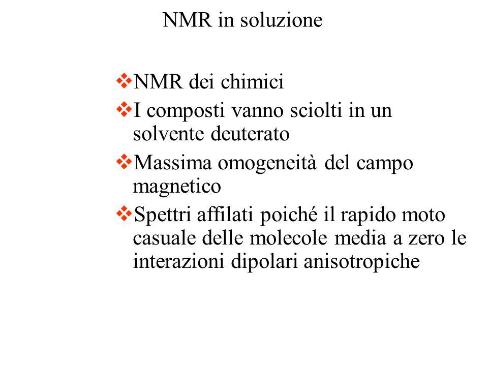 NMR in soluzione NMR dei chimici. I composti vanno sciolti in un solvente deuterato. Massima omogeneità del campo magnetico.