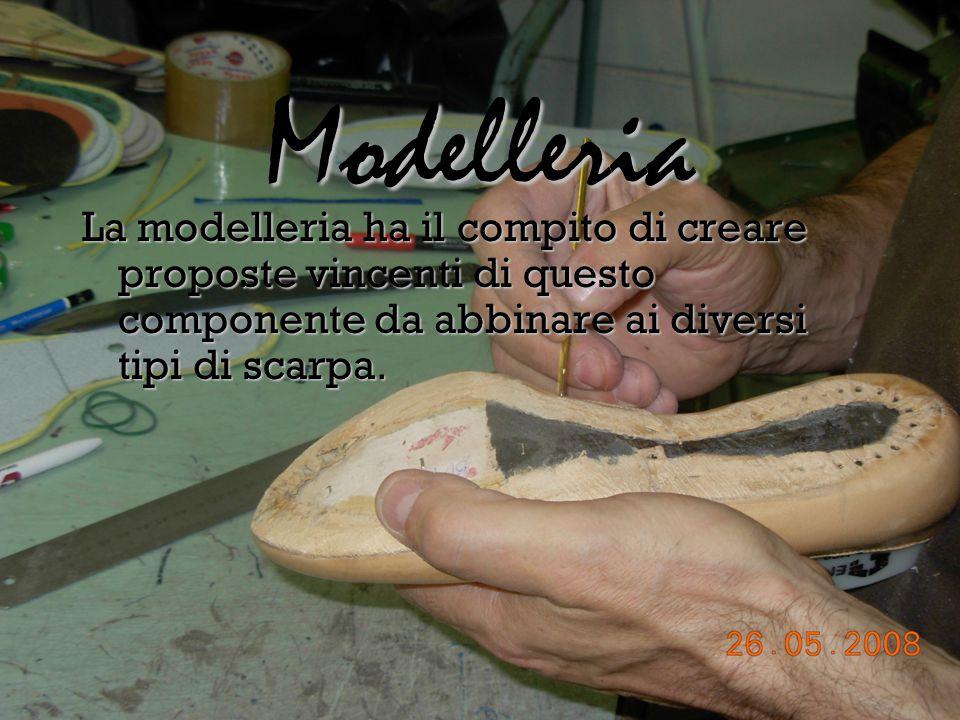 Modelleria La modelleria ha il compito di creare proposte vincenti di questo componente da abbinare ai diversi tipi di scarpa.