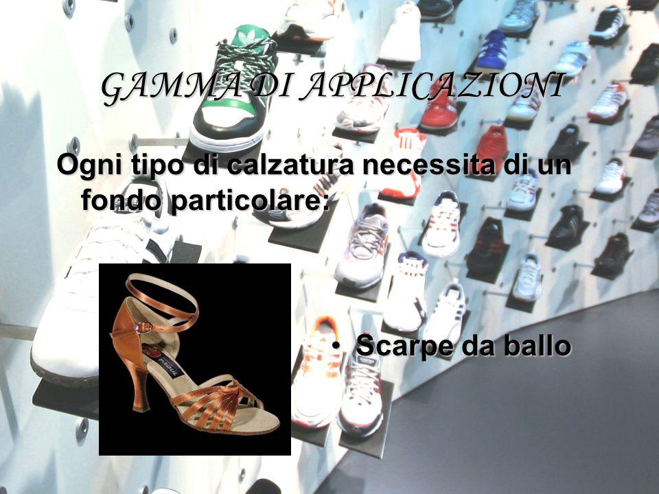 GAMMA DI APPLICAZIONI Ogni tipo di calzatura necessita di un fondo particolare: Scarpe da ballo