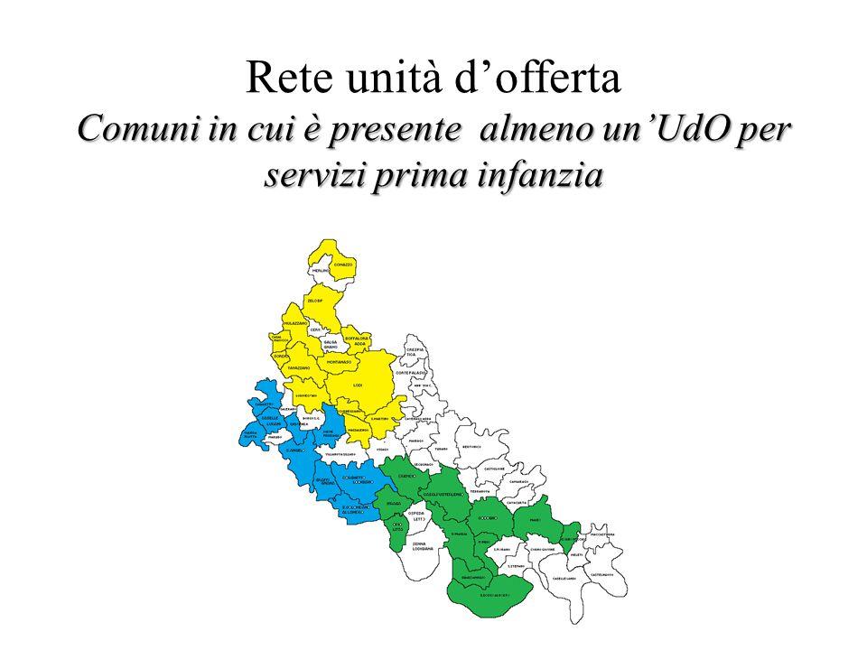 Rete unità d'offerta Comuni in cui è presente almeno un'UdO per servizi prima infanzia
