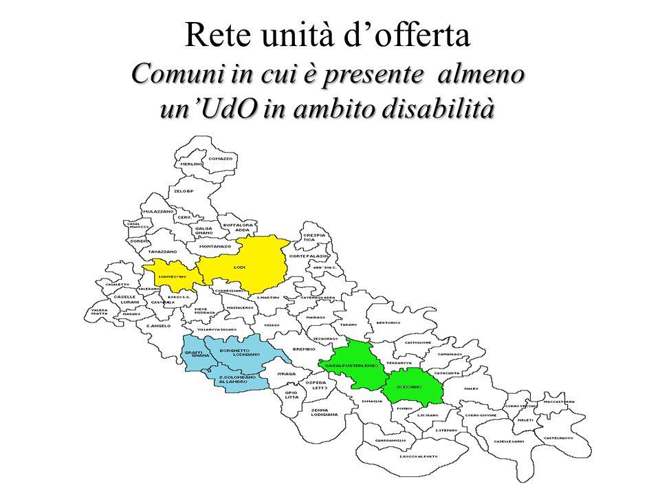 Rete unità d'offerta Comuni in cui è presente almeno un'UdO in ambito disabilità