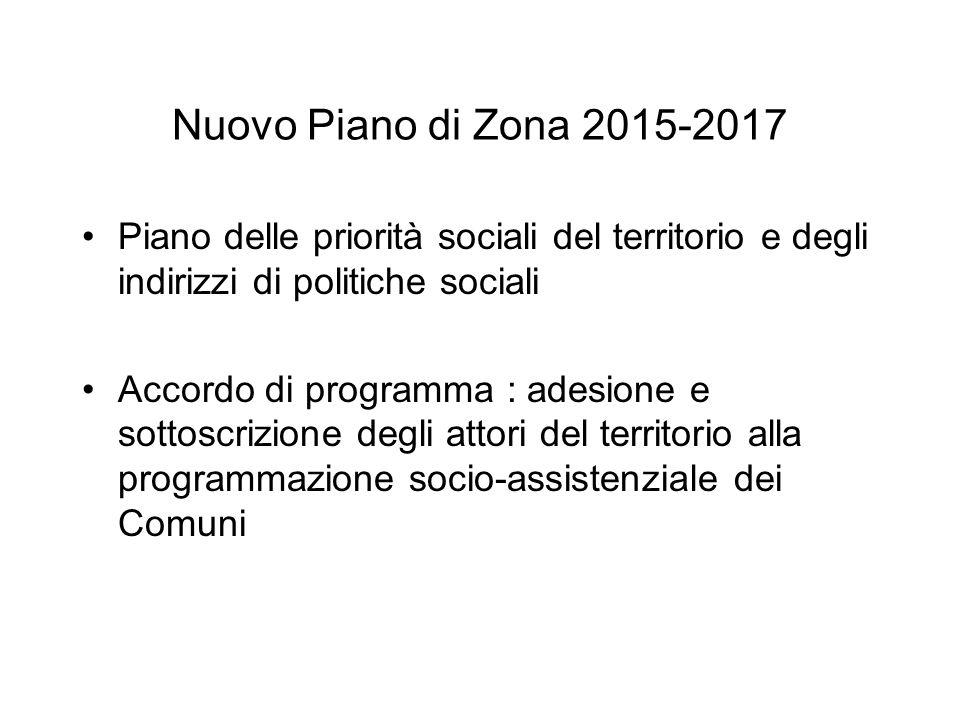 Nuovo Piano di Zona 2015-2017 Piano delle priorità sociali del territorio e degli indirizzi di politiche sociali.