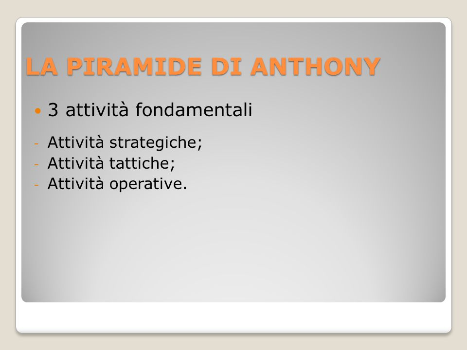 LA PIRAMIDE DI ANTHONY 3 attività fondamentali Attività strategiche;