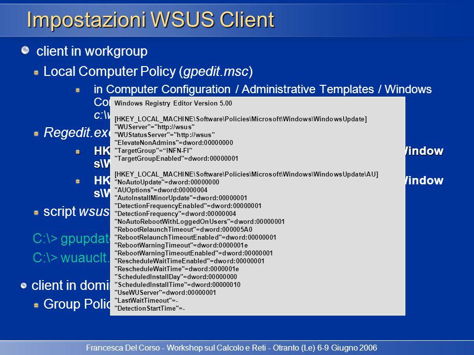 Impostazioni WSUS Client