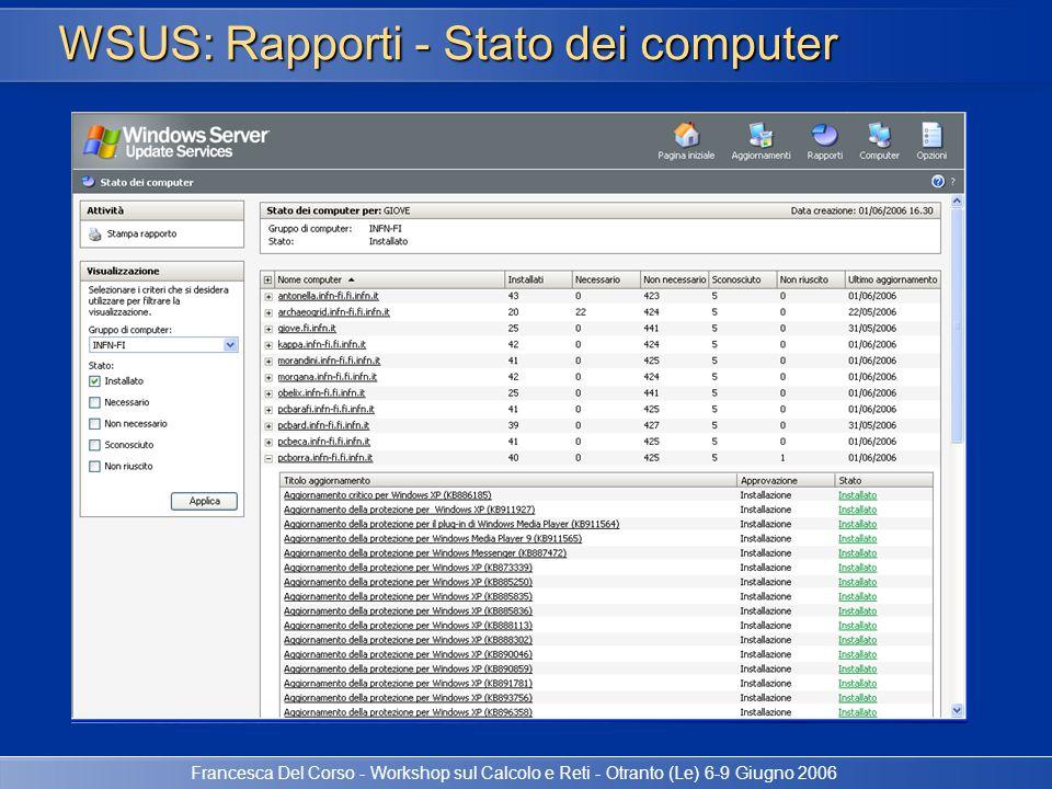 WSUS: Rapporti - Stato dei computer