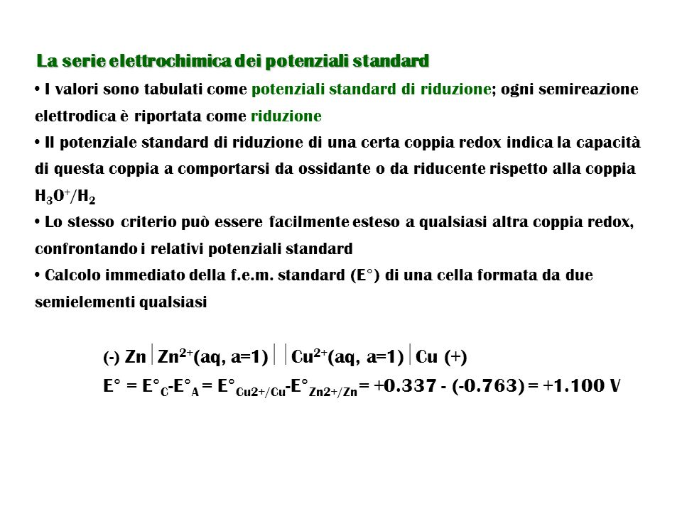La serie elettrochimica dei potenziali standard