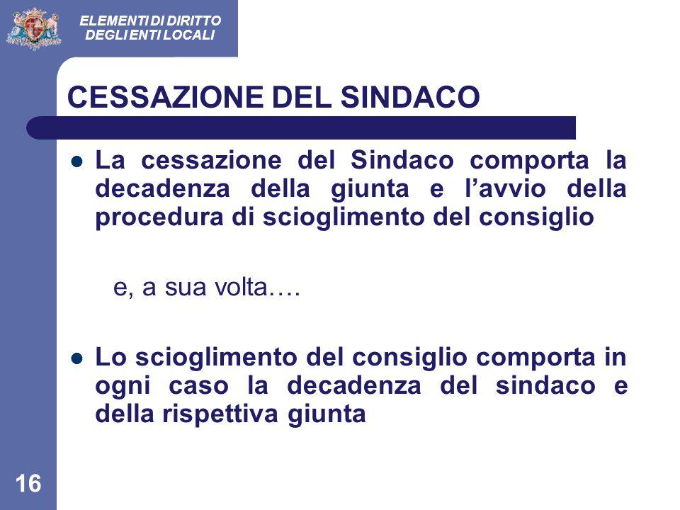 CESSAZIONE DEL SINDACO