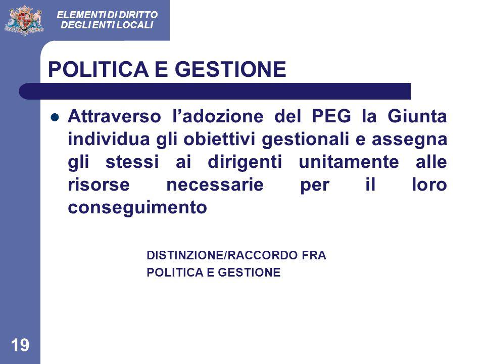 POLITICA E GESTIONE