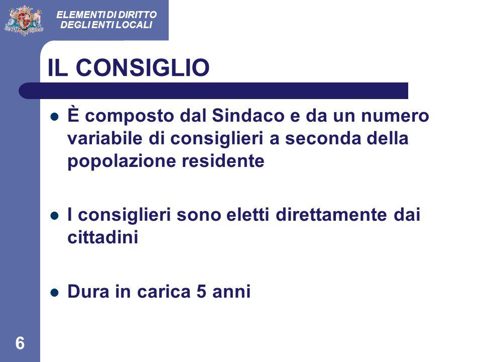 IL CONSIGLIO È composto dal Sindaco e da un numero variabile di consiglieri a seconda della popolazione residente.