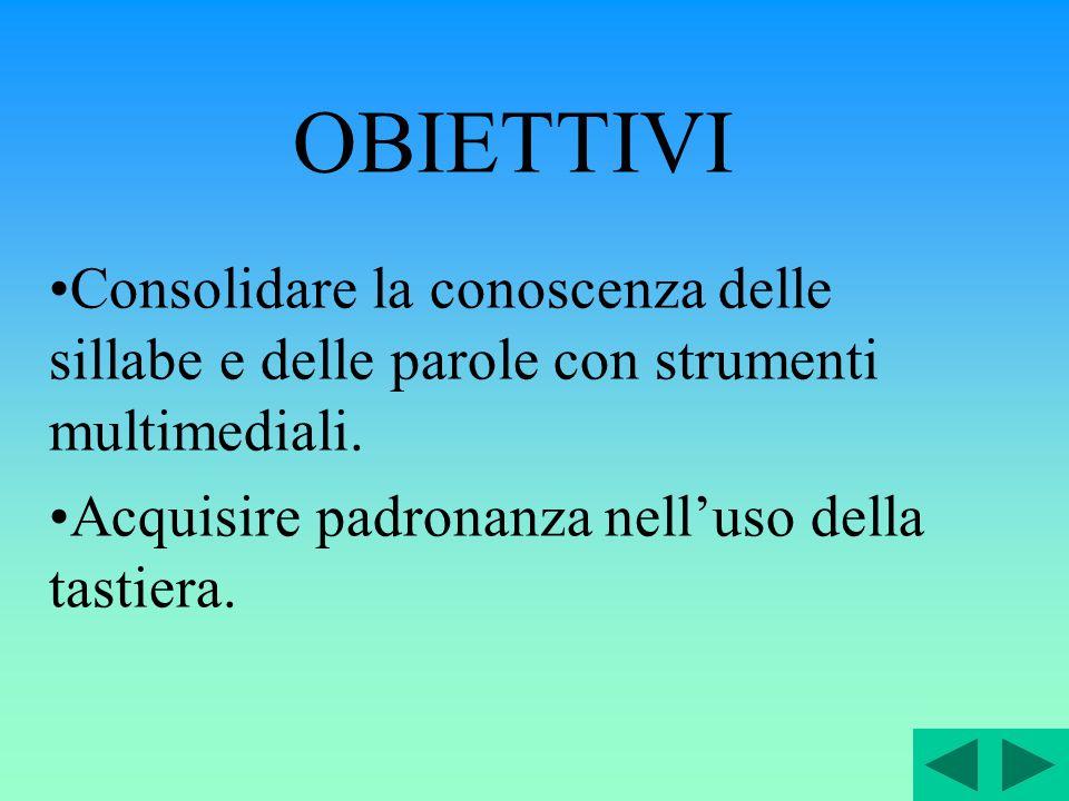 OBIETTIVI Consolidare la conoscenza delle sillabe e delle parole con strumenti multimediali.