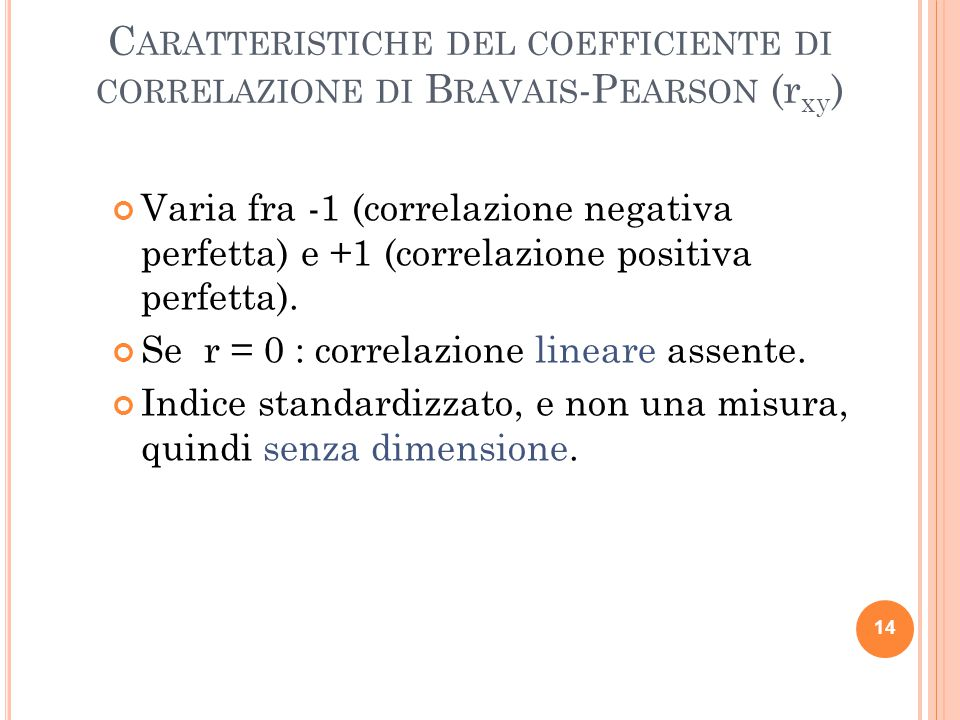 Caratteristiche del coefficiente di correlazione di Bravais-Pearson (rxy)
