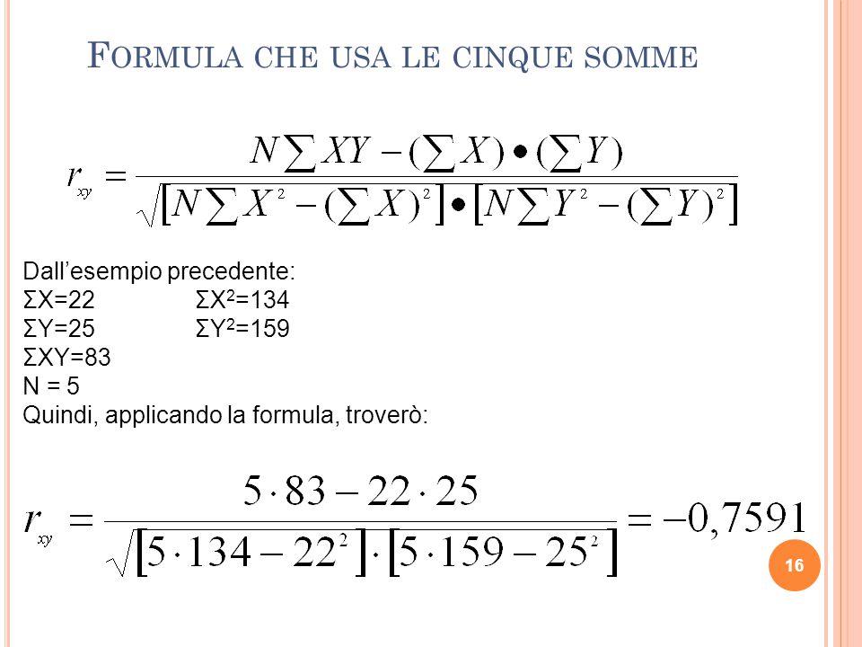 Formula che usa le cinque somme