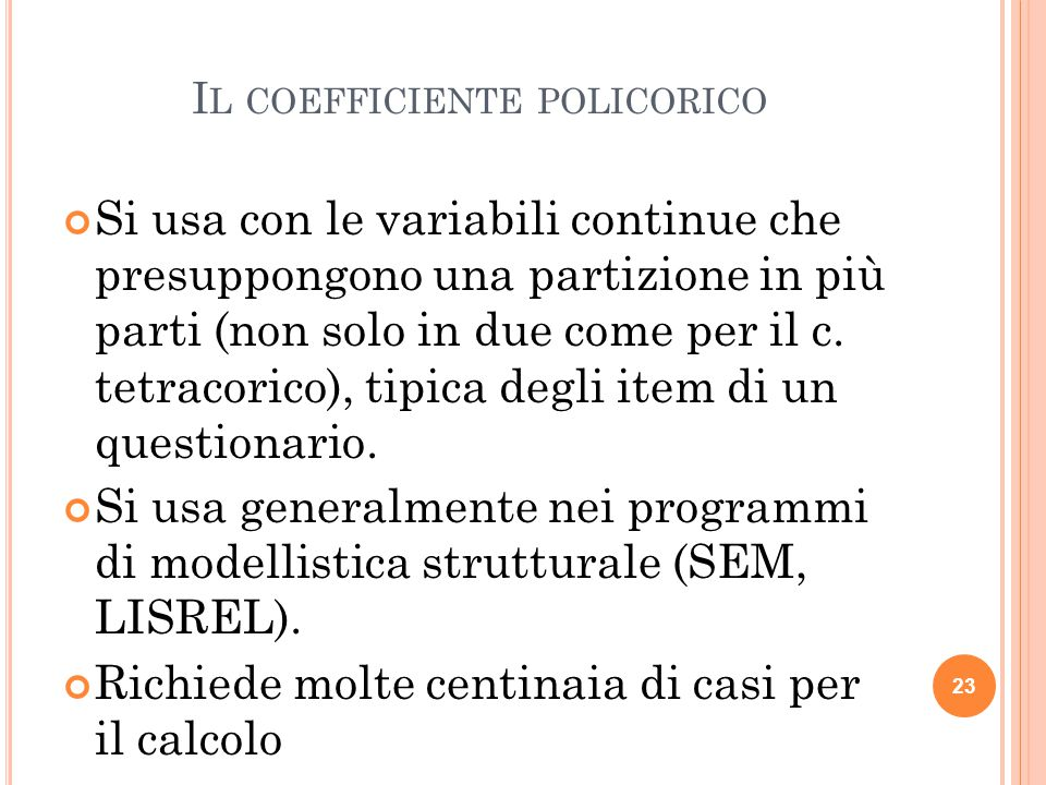 Il coefficiente policorico