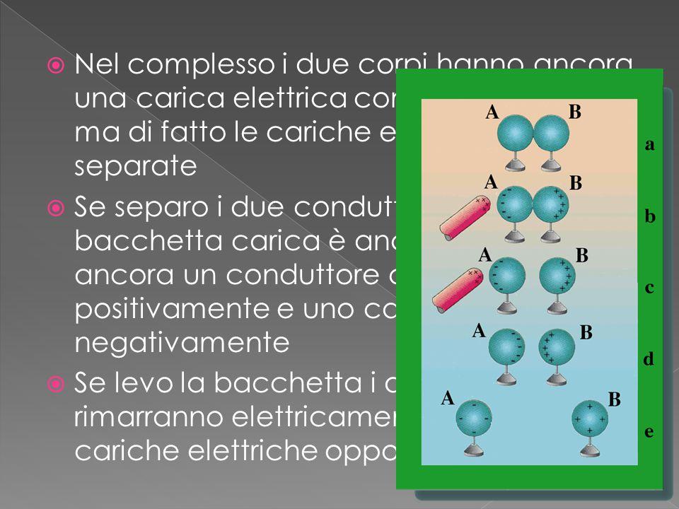 Nel complesso i due corpi hanno ancora una carica elettrica complessiva neutra ma di fatto le cariche elettriche risultano separate