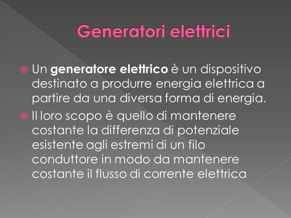 Generatori elettrici Un generatore elettrico è un dispositivo destinato a produrre energia elettrica a partire da una diversa forma di energia.