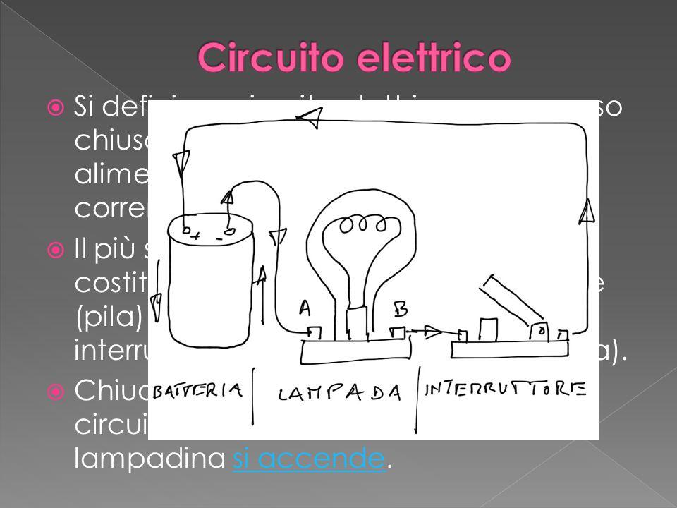 Circuito elettrico Si definisce circuito elettrico un percorso chiuso in cui circola corrente elettrica alimentata da un generatore di corrente.