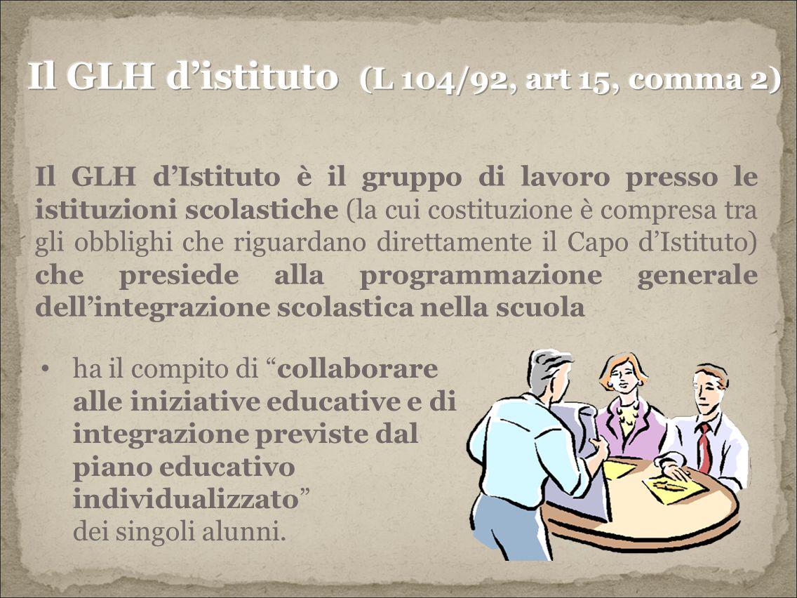 Il GLH d'istituto (L 104/92, art 15, comma 2)