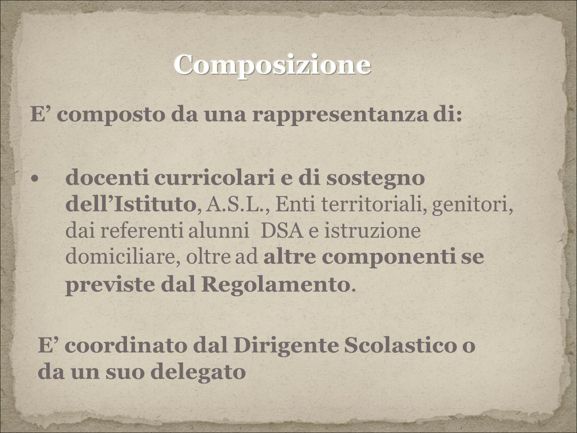 Composizione E' composto da una rappresentanza di: