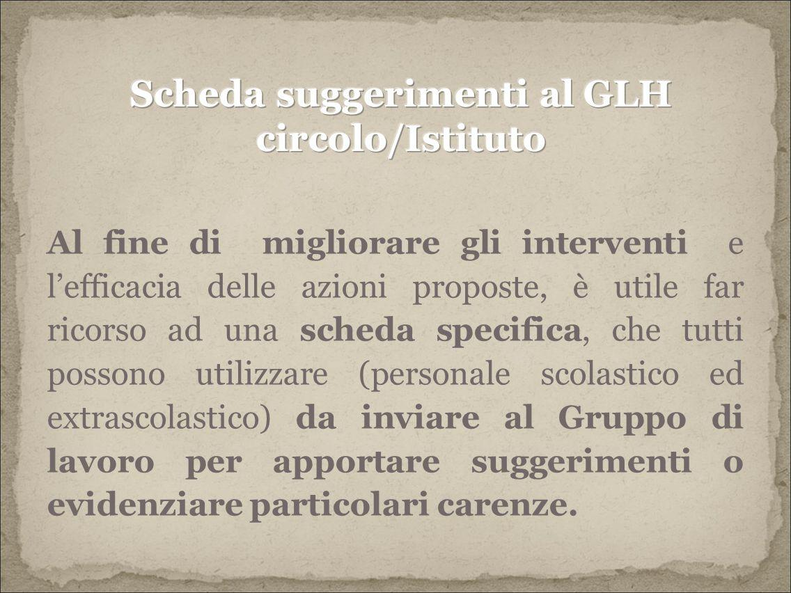 Scheda suggerimenti al GLH circolo/Istituto