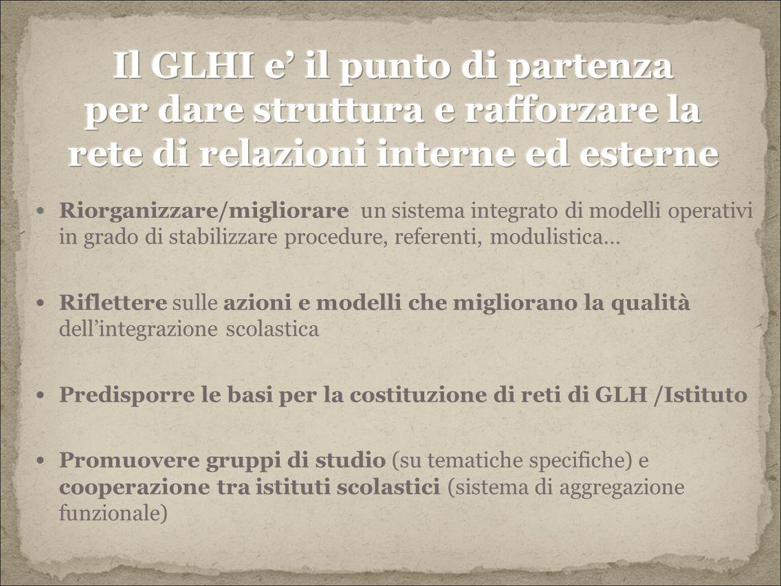 Il GLHI e' il punto di partenza per dare struttura e rafforzare la rete di relazioni interne ed esterne