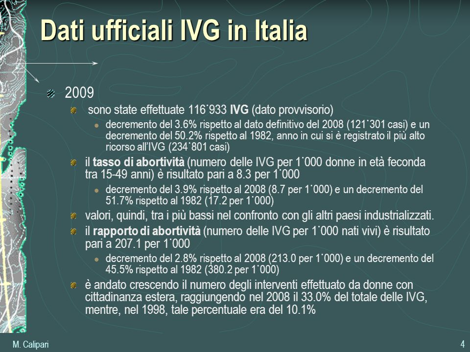 Dati ufficiali IVG in Italia