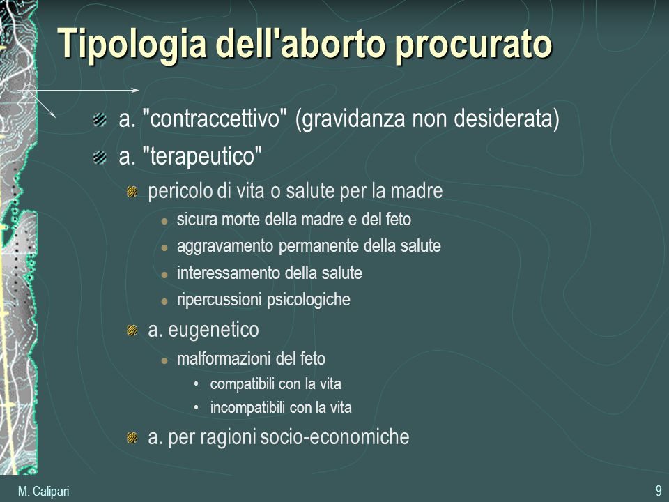 Tipologia dell aborto procurato