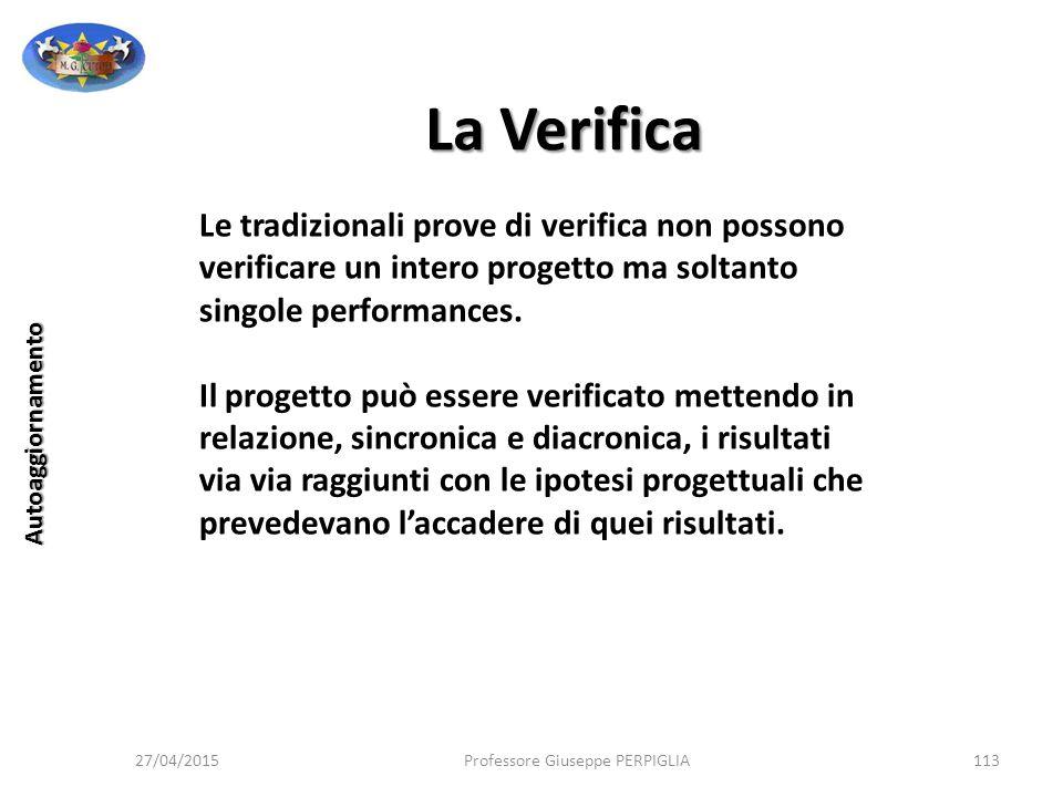 La Verifica Le tradizionali prove di verifica non possono verificare un intero progetto ma soltanto singole performances.