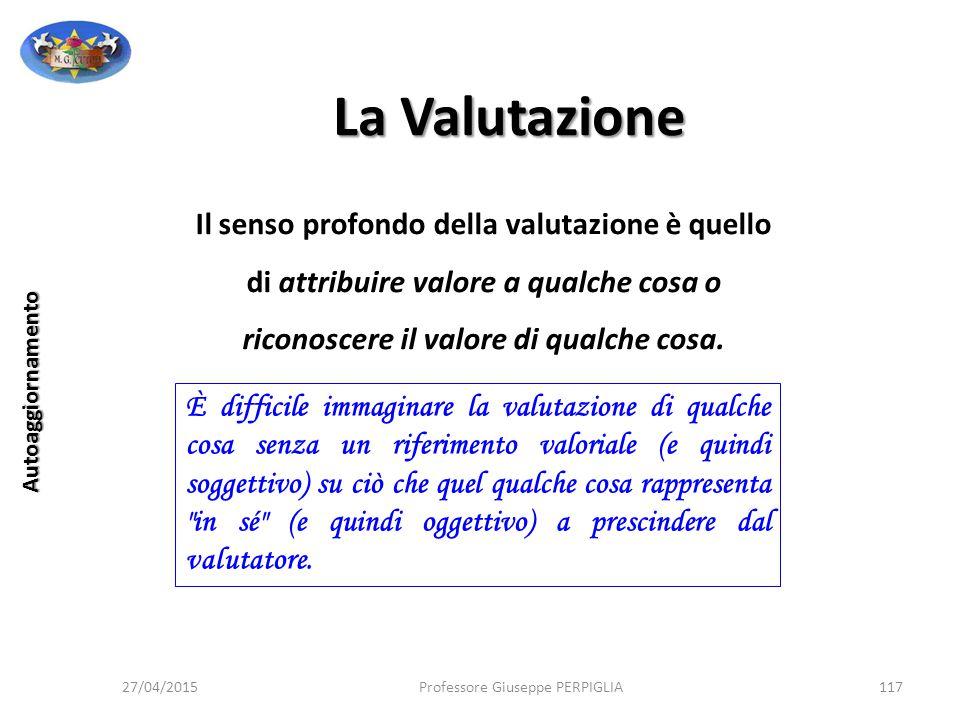 La Valutazione Il senso profondo della valutazione è quello di attribuire valore a qualche cosa o riconoscere il valore di qualche cosa.