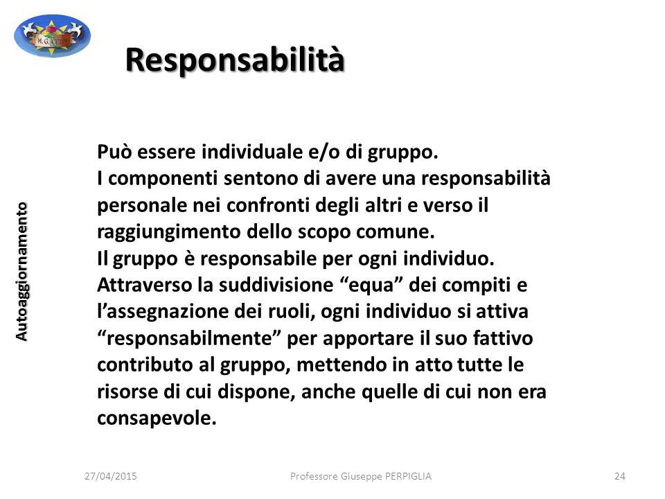 Responsabilità Può essere individuale e/o di gruppo.