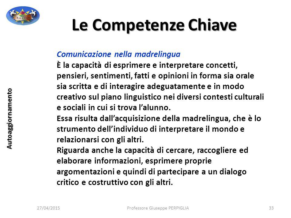 Le Competenze Chiave Comunicazione nella madrelingua
