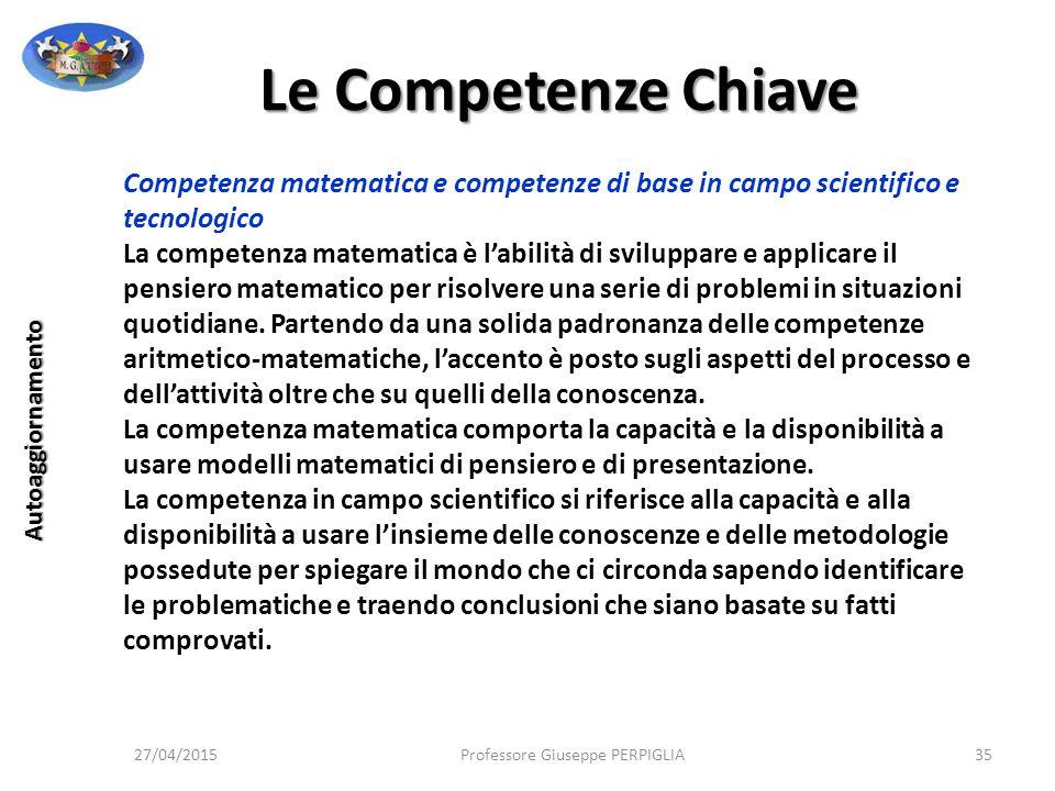 Le Competenze Chiave Competenza matematica e competenze di base in campo scientifico e tecnologico.