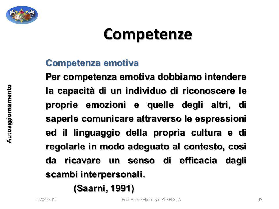 Competenze Competenza emotiva