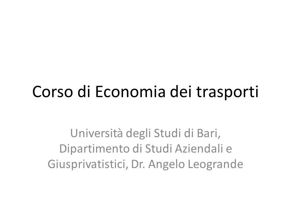 Corso di Economia dei trasporti