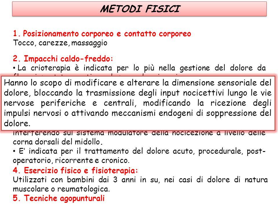 METODI FISICI Posizionamento corporeo e contatto corporeo. Tocco, carezze, massaggio. 2. Impacchi caldo-freddo: