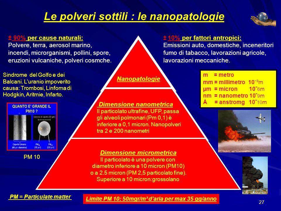 so Le polveri sottili : le nanopatologie ± 90% per cause naturali: