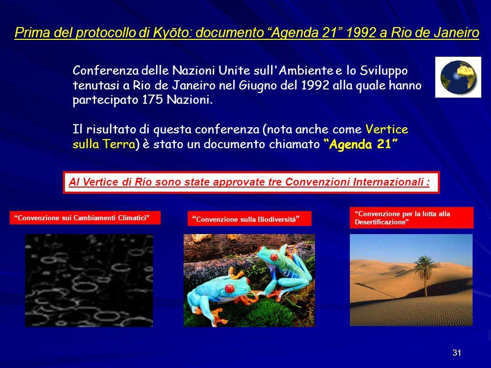 Prima del protocollo di Kyōto: documento Agenda 21 1992 a Rio de Janeiro