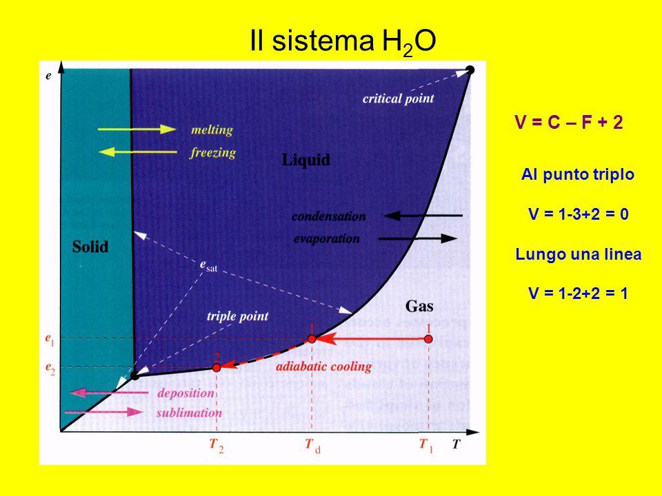 Il sistema H2O V = C – F + 2 Al punto triplo V = 1-3+2 = 0