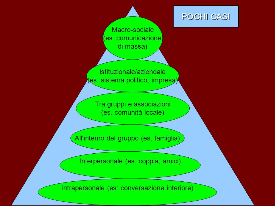 POCHI CASI Macro-sociale (es. comunicazione di massa)